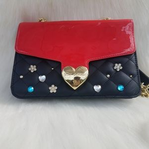 Betsy Johnson red and black cross body bag
